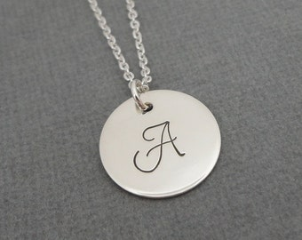 "Sterling Silver Initial Necklace - 5/8"" Initial Disc - Celebrity Style - Personalized Initial Necklace - Hand Stamped Jewelry"