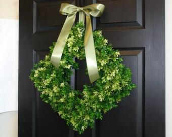 spring wreath summer wreath front door wreaths outdoor wreath square boxwood wreath decorations rustic wedding