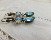 Vintage Old World, Romantic, Vintage Swarovski Light Aqua Navette Crystal Drop, Sparkly Aurora Borealis Round Crystal, Antiqued Brass Shell
