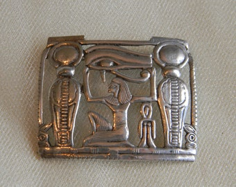 Antique Egyptian silver pendant/ brooch , Egyptian Pharaoh & mummy icons , Egyptian jewelry w stamp , unusual Egyptian silver brooch/ unique