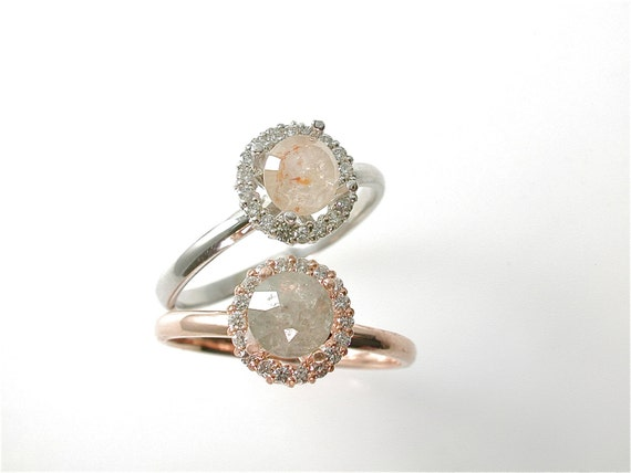 5 mm Round Rose Cut Diamond Ring, Diamond Halo, Made to Order, Peach, Yellow, Modern Engagement Ring, Rustic Diamond, Custom,  14 k Gold