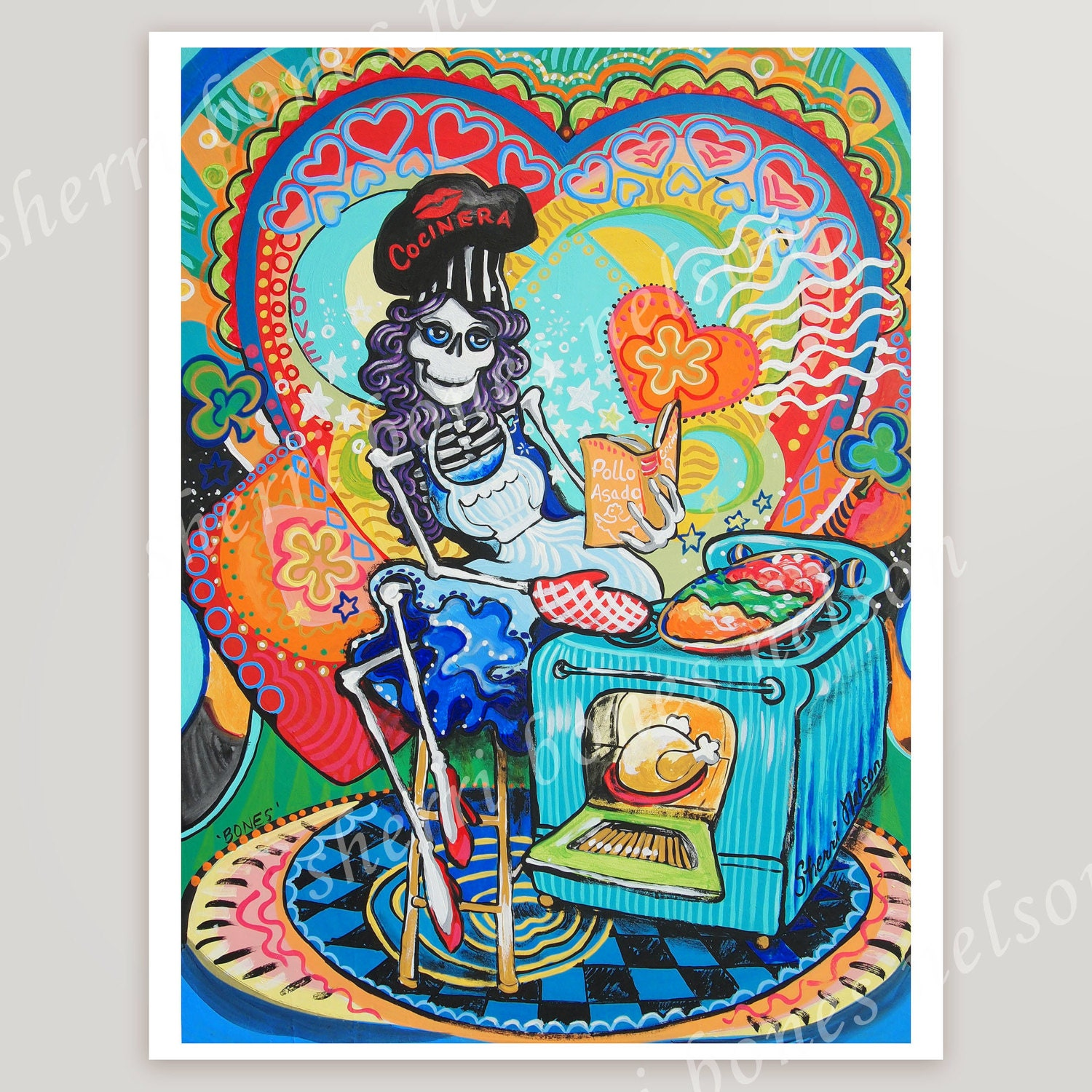 Day Of The Dead Wall Art mexican kitchen catrina art print. day of the dead cook wall