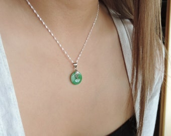 Handmade chinese jade etsy chinese jade circle halo with silver leaf necklace detailed leaf on natural green jade disc aloadofball Image collections