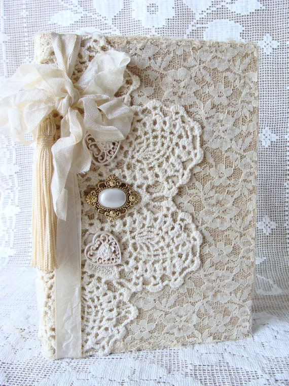 Lace and Vintage Doily Journal Notebook Diary Wedding Guestbook Bride Giftbook Baby Shower I Love You Quote