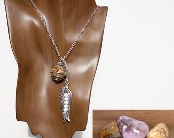 AQUARIUS  3-in-1 Gemstone Necklace Set w/ Picasso Jasper, Amethyst, Tiger Eye | Choose Length | Zodiac Astrology, January February Birthday