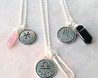 Zodiac Sign Necklace | Astrology Charm Birthday | Aries Taurus Gemini Cancer Leo Virgo Libra Scorpio Sagittarius Capricorn Aquarius Pisces