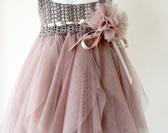 Taupe and Pinky Beige Empire Waist Baby Tulle Dress with Stretch Crochet Top.Tulle dress  for girls with lacy crochet bodice.