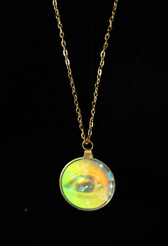 hologram eyeball illuminati pendant necklace found object