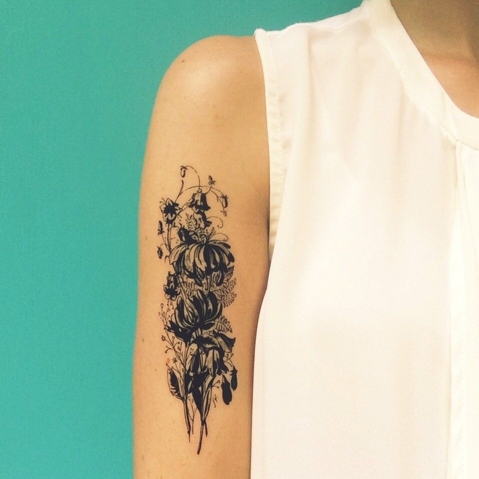 Floral Bouquet Back Tattoo: Large Temporary Tattoo Vintage Flower Bouquet Tattoo Valentine