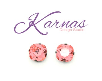 PADPARADSCHA 12mm Cushion Cut Stud or Post Earrings Made With Swarovski Elements *Pick Your Metal *Karnas Design Studio *Free Shipping*