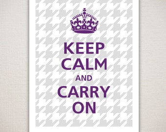 Keep Calm and CARRY ON Grey Houndstooth Typography Art Print 8x10
