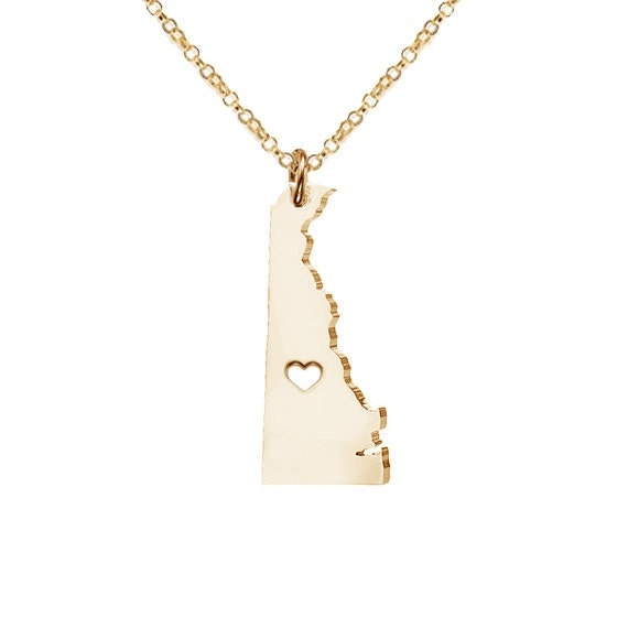 de state necklacedelaware state charm necklacestate shaped