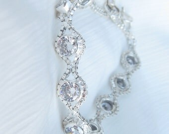 Bracelet Silver with Crystals