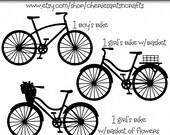 Bicycle Silhouettes, Bicycle Clip Art, Bike Clipart, Bike Graphic, Boy and Girl Bicycles, Bikes With Baskets, Girl's Bike With Flower Basket