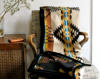 Wool Blanket in Gold Black Turquoise Ranch Arroyo Design