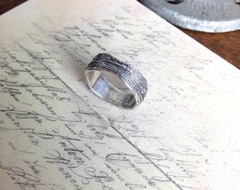 Rustic Tree Bark Ring in Pure Fine Silver