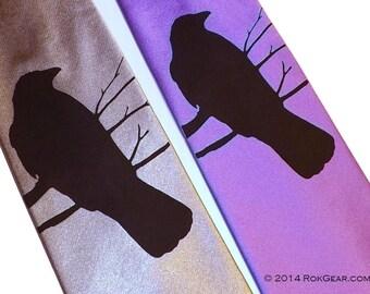 RokGear Crow print Men's necktie - select your own color - Raven Crow