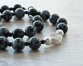 Snow Flake Obsidian Necklace, Lava Rock and Obsidian Necklace, Black Statement Necklace, Black & White, Obsidian Jewelry,Santorini Jewelry