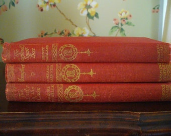 Red Books Collection Vintage Story Book Set Fiction Vintage Stories Mysteries The Lady in the Case Moonfleet The Cardinals Snuff Box