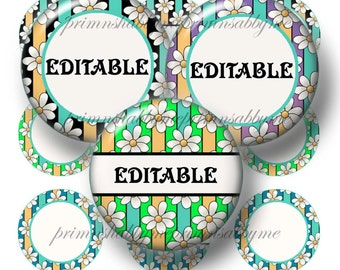 Daisy Flowers, Digital Collage Sheet, Editable Bottle Cap Images, Editable Digital Collage Sheet, Editable 1 Inch Circles, No.1, Bottle Caps