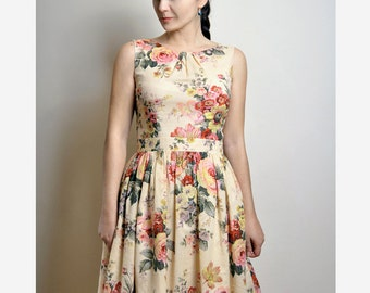 Floral Cotton Dress, Floral Dress, Cotton Dress, Dress With Pockets, Custom made dress, Midi dress, Midi skirt, Floral skirt
