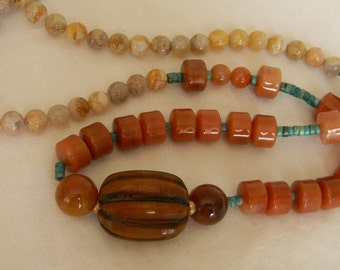 Tibetan amber Copal pendant w jade beads necklace , beaded jewelry , Tibetan Copal jewelry , Tibetan jewelry for men , bead necklace , amber