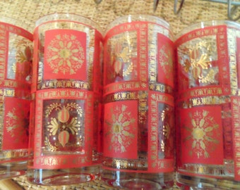Red and Gold Motif Glasses in Silver Chrome Caddy Set of 8