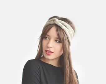 Hand Knit Turban in Beige, Wool Winter Headband, Chunky Turban, Womens Ear Warmer, Custom Color Turban, Knit Hair Band