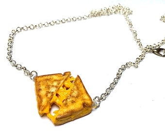 Grilled Cheese Necklace, Miniature Food Jewelry, Polymer Clay Sandwich, Grilled Cheese Jewelry