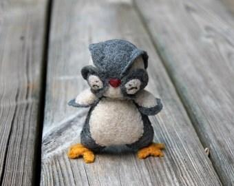 Owl Toy -Felt Owl Toy- Baby Owl -Tati Woodland Baby Owl- Handmade Grey Toy Owl