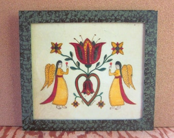 Vintage Hand Painted Bill Rank Theorem Pennsylvania Dutch Angels and Tulips