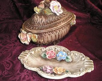 Vintage Pr.Nice Decorative Capo Di Monte Lidded Compote,Dish w/Roses Shabby Chic Paris Apartment Table Decor..