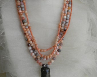 Jade turtle pendant w angel skin coral & Botswana agate beads necklace , multi strand  pink coral/ Botswana agate necklace , beaded necklace