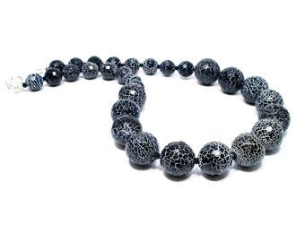 Black White Statement Necklace - Black Beaded Necklace - Gemstone Jewelry - Gemstone Necklace - Silver Plated Clasp - BigSkiesJewellery