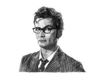 DR WHO David Tennant pencil drawing
