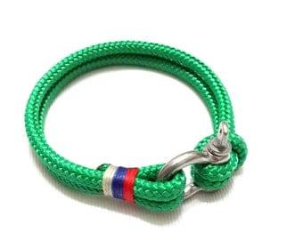 Green Nautical Bracelet - Stainless steel Shackle Paracord Bracelet Mens Bracelet Rope Bracelet GREEN 2