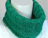 RESERVED for RJ: Emerald Green Hand Knit Cowl with Sparkles ,Green Gaiter, Vegan Cowl, Handmade in the USA, Ready to Ship