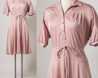 Vintage 70s Dress, Vintage Nude Dress, Vintage Taupe Dress, Vintage dress, aline dress - S/M