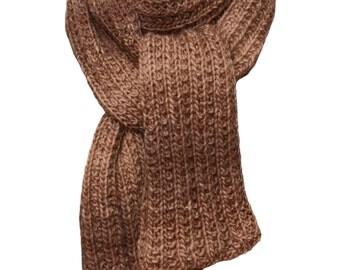 Hand Knit Scarf - Hazelnut Tweed Alpaca Trail Ridge Rib