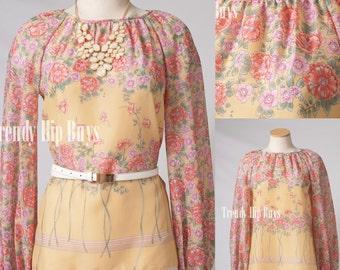 Vintage top, 70s Top, Vintage Pink Top, Pink floral blouse , Vintage sheer top, Vintage Pink Blouse, Vintage floral top - M/L
