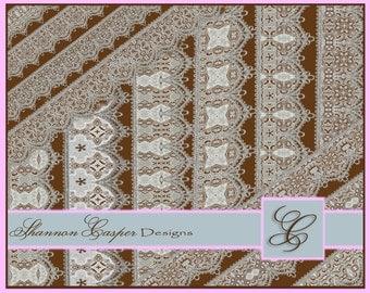 Crochet Edge Lace Borders Trim ~ Digital Download