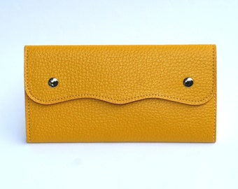 Women's Yellow Leather Wallet, Women's Yellow Leather Purse, Leather Wallet, Leather Purse, Yellow wallet, Yellow Purse , Womens wallet