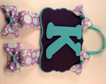 Custom girls bow hanger. Purple and teal. Letter K.