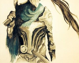 "8.5x11"" Artorias The Abyss Walker (Dark Souls) Watercolor Print"