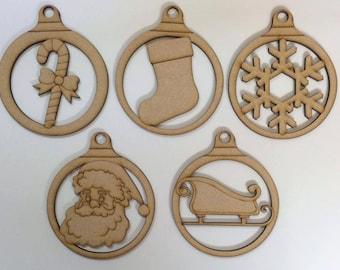 Christmas Baubles laser cut mdf craft blank
