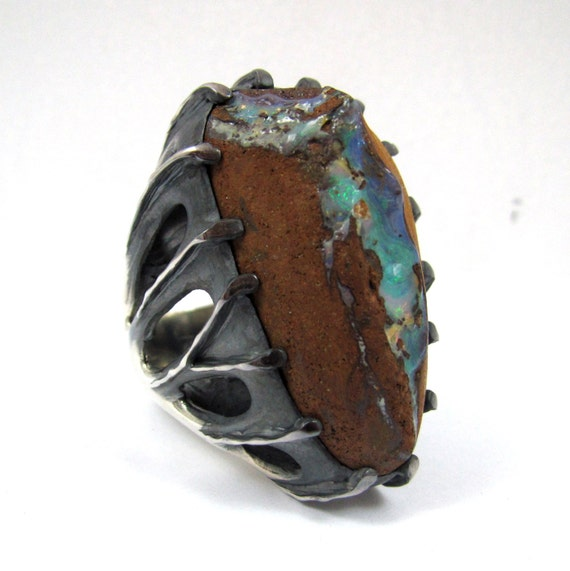 Badass Opal And Silver Mens Ring Men's Bling By