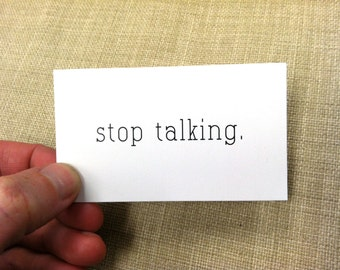 stop talking calling cards