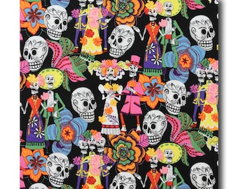 Cotton Quilting Fabric by the Yard- Alexander Henry - Los Novios Wedding Black