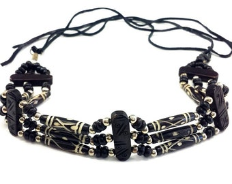 Handmade 3 Line Carved Buffalo Bone Hairpipe Beads Traditional Tribal Choker Necklace