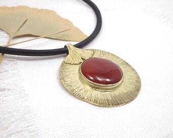 Ginkgo necklace, carnelian necklace, elvish necklace, statement necklace, maidenhair tree pendant, bride ginkgo pendant, ginkgo OOAK jewelry